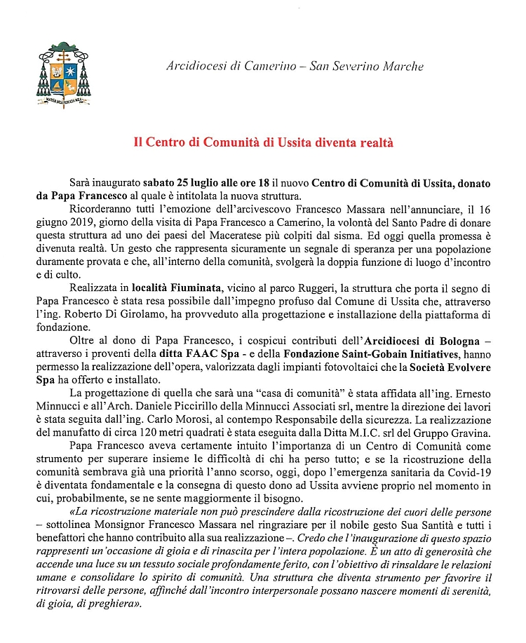 Comunicato Stampa Inaugurazione CdC Ussita 750
