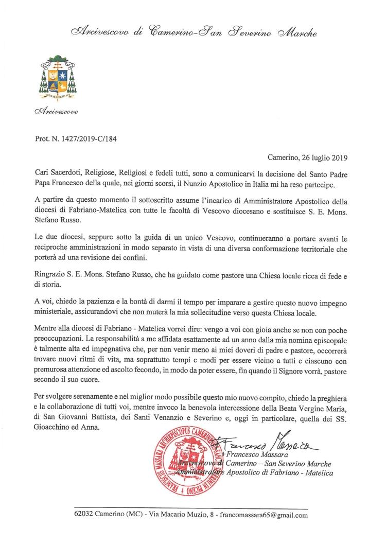 Annuncio Arcivescovo Massara 26lug2019