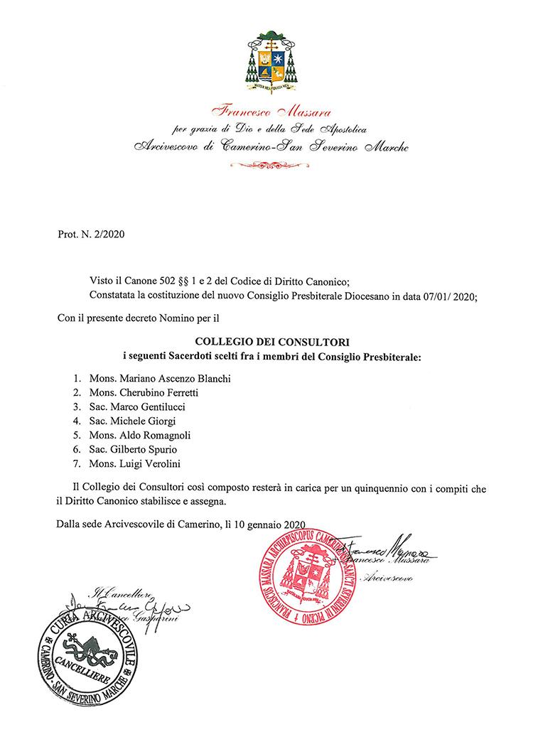 Nomina Collegio Consultori