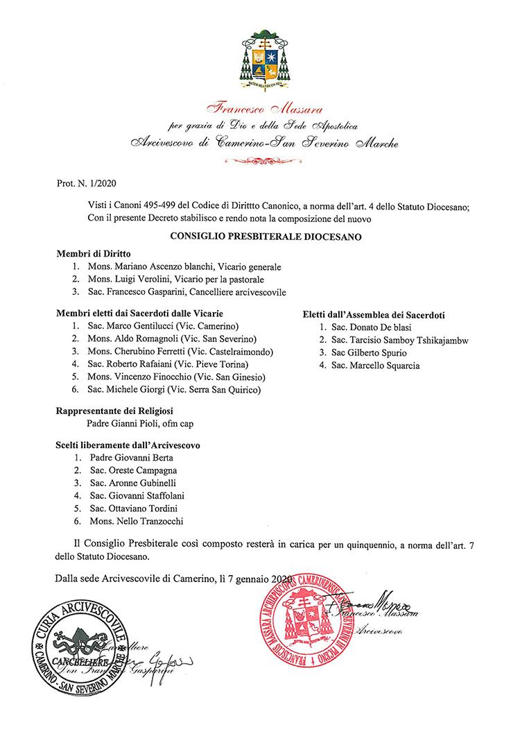 Nomina Consiglio Presbiterale Diocesano