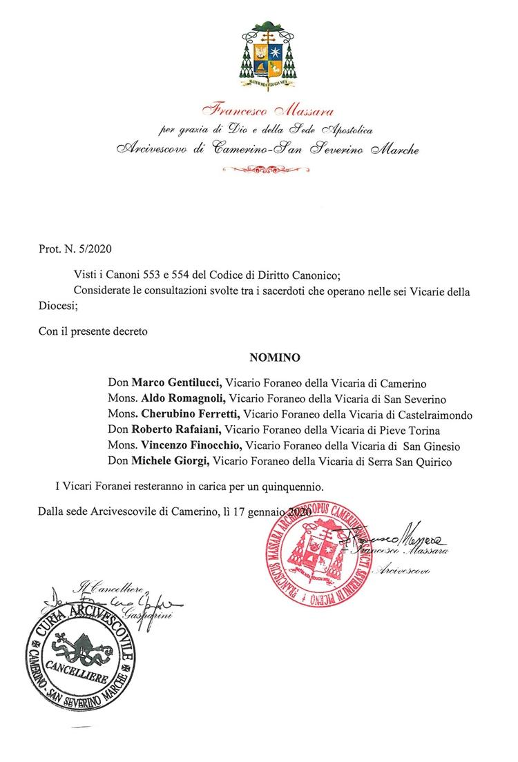 Nomina Vicari Foranei
